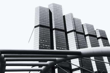 Black and white Modern building in bangkok  photo