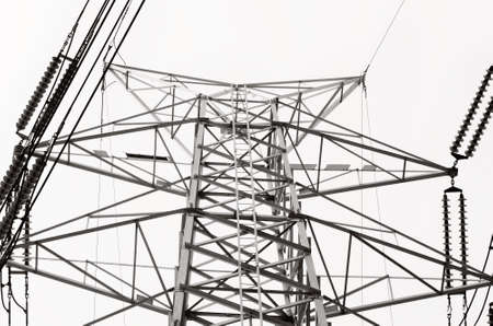 sub station: Black and white Structural of transmission lines
