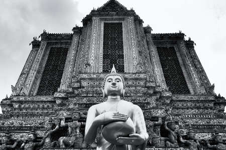 Black and white Standing Buddha photo