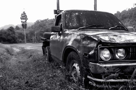 Black and white Abandoned old car Stock Photo