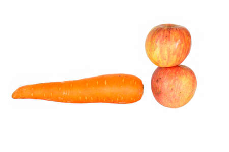 Carrot and  apple over white background Stock Photo