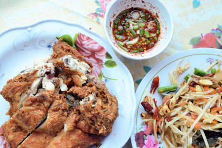Papaya salad with  Fried chicken