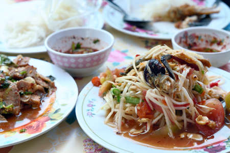 Papaya salad with Spicy minced pork Stock Photo