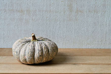 A pumpkin on a wooden with old cement background