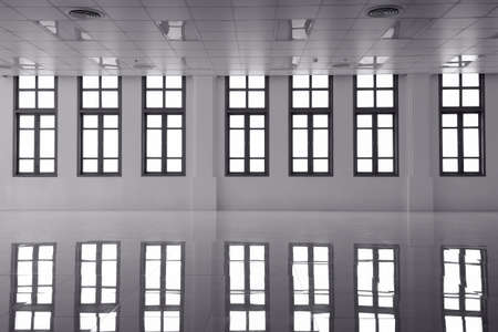 Black and white Abstract Clear Bright Windows with reflection Stock Photo