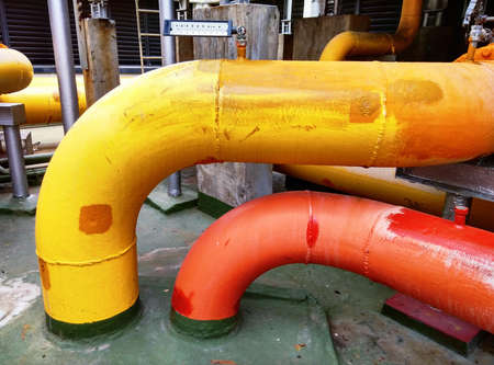Colorful of chilled water piping Stock Photo
