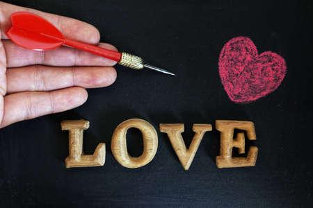 taget: Love words with heart on blackboard