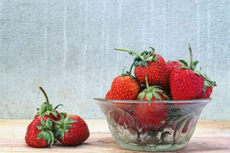 Close-up groep van verse aardbeien Stockfoto