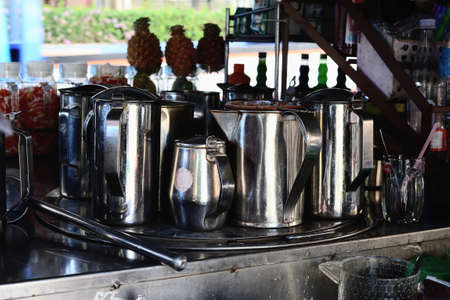 Thai coffee and tea maker on the street