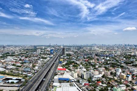 Top view of Bangkok city highway
