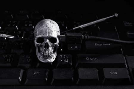 Black and White Skull human on keybroad