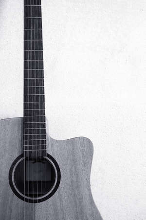 Black and white closeup of classic guitar Stock Photo - 67079333