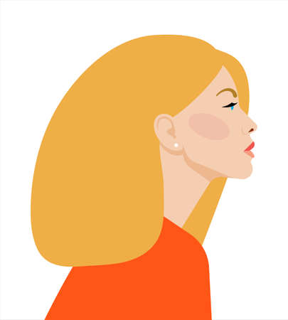 Portrait of beautiful blonde Woman. Confident strong woman looks forward. Feminist, professional, mother, wife, girlfriend. Vector illustration on a white background.