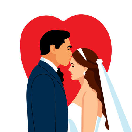 Just married couple on the background of red heart. The bride and groom and a gentle kiss. Wedding dress and veil.