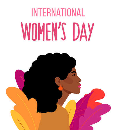 International Womens Day holiday. Beautiful Latina woman and decorative plants. Celebrating independence, equality, women rights. Ilustração