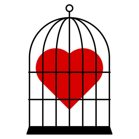 The Red heart in cage. Vector isolated on white.