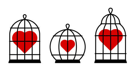 Set of red hearts in cages. Vector isolated on white.