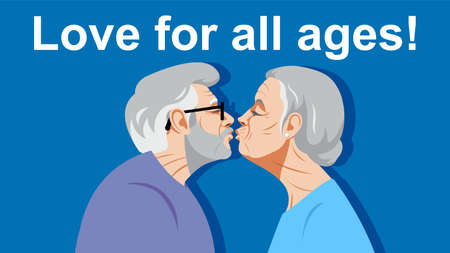 Love for all ages. Two old people kiss. A gray-haired old man and an old woman with white hair are standing opposite each other. Loving couple. Love and health in old age.