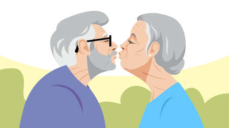 Love and age. Two old people kiss. A gray-haired old man and an old woman with white hair are standing opposite each other. Loving couple. Love and health in old age.