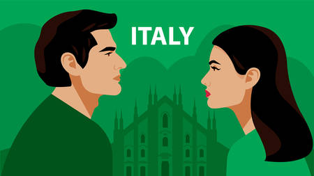 Italians. Man and woman opposite each other. The Duomo, the cathedral in Milan. Couple. Beautiful brunette and brunette on a green background. Vector illustration.