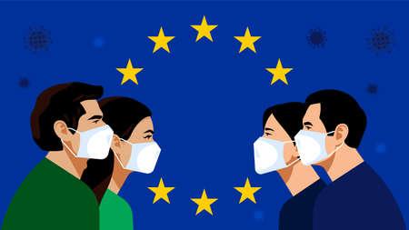 European Union: blue flag with golden stars. Pandemic 2019-nCoV. Quarantine in the European Union. People in white medical face mask. Vector illustration. Ilustração
