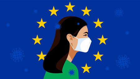 Symbol of the European Union: blue flag with golden stars. Pandemic 2019-nCoV. Quarantine in the European Union. People in white medical face mask. Vector illustration. Ilustração