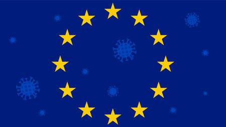 Symbol of the European Union: blue flag with golden stars. Pandemic 2019-nCoV. Concept of coronavirus quarantine in the European Union. Vector illustration.