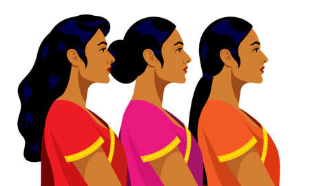 Indian women. Beautiful Indian girls in national clothes. Portraits side view. Vector illustration.