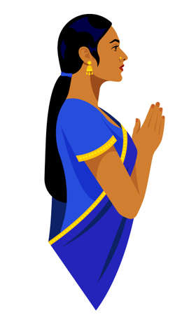 Beautiful Indian woman in traditional clothes. Bright saree. Beautiful woman side view. Vector illustration.