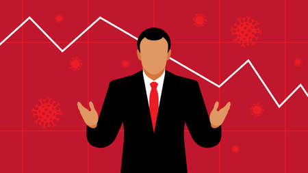 Businessman or broker on the background of a falling chart. The concept of a crisis in the world, a crisis in the stock markets and in the economy. The Illustration for a blog.