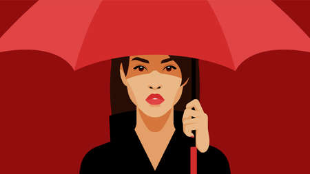 Girl with a red umbrella. Beautiful brunette holds a red umbrella in her hand. The concept of beauty, protection, shelter.