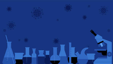 Chemical Science Equipment glassware. Glass empty beakers,flasks,test tubes, bottles. Blue background with copy space.
