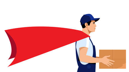 Delivery Hero. A courier in a red heroic cloak holds a box. Side view. A young delivery man brought an online order. Delivery Shipping concept. Isolated on a white background. Illustration