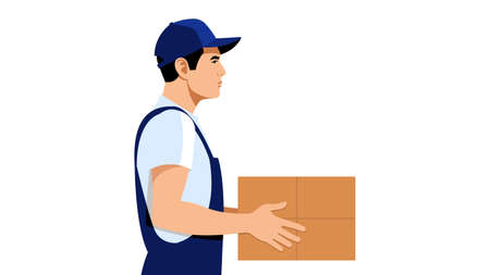 The courier in uniform is holding a parcel. Side view. A young delivery man brought an online order. Delivery Shipping concept. Isolated on a white background.