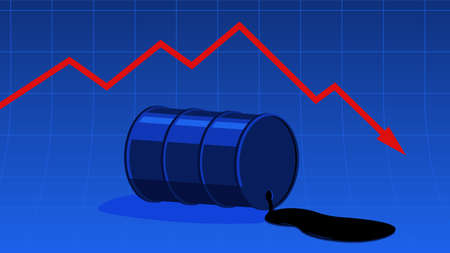 The fall in the price of oil. Barrel of oil. The cost decreases. The crisis of the economy. Blue vector  illustration.