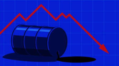 The fall in the price of oil. Barrel of oil and red fall graph. The cost decreases. The crisis of the economy. Blue vector  illustration.