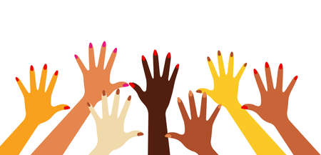 Female hands with different skin colors . Vector illustration on white background.