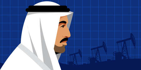 Oil price. Serious arab businessman in national white suit on the background of oil pumps. Side view. Portrait, profile, blue background. Arab world, Middle East, oil industry. Template.