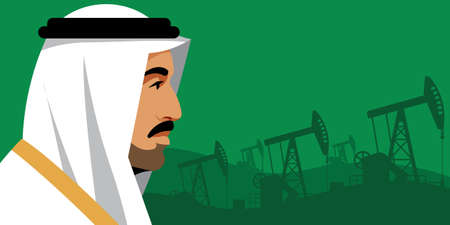 Oil price. Serious arab businessman in national white suit on the background of oil pumps. Side view. Portrait, profile, green background. Arab world, Middle East, oil industry. Template. Vettoriali