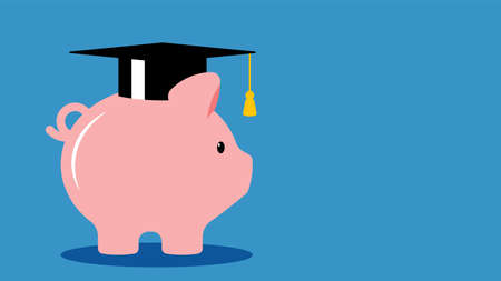 Education Savings. Pig piggy bank in a graduation cap. The concept of investment in higher education. Vector illustration of fucking banner, article. Template.