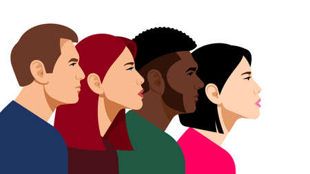 Multicultural youth group. Faces of young girls and guys side view on a white background. Students, rights activists, colleagues or team. Flat vector illustration for blog, newspaper or poster.