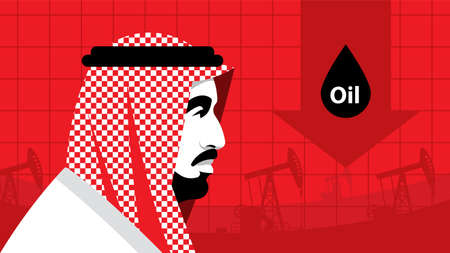 Oil price. Serious arab businessman in national white suit on the background of oil rigs. Side view. Portrait, profile, red background. Arab world, Middle East, oil industry. Template.
