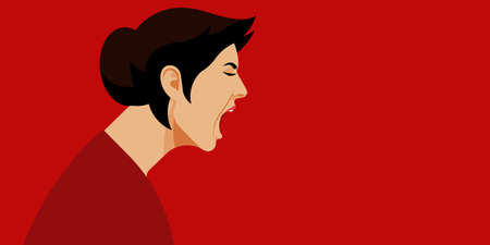 Yelling woman. Face in profile. Woman in stress on the side. Aggression and irritation. Vector flat illustration