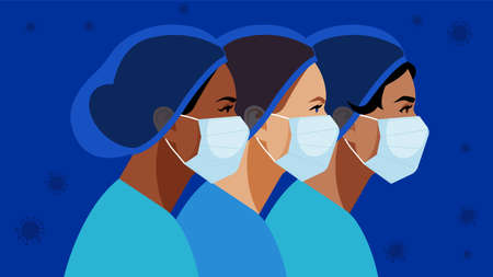 Nurses in medical mask and hat. Virus symbol in the air. Medical staff are fighting a viral infection. Vector illustration of a nurse in blue uniform on a blue.