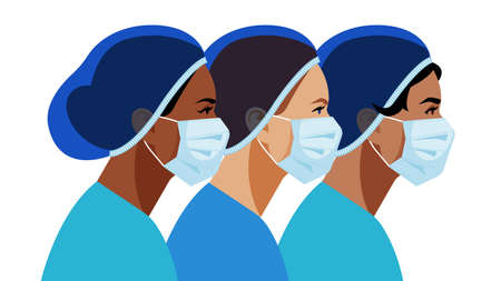 Nurses in medical mask and hat. Medical staff are fighting a viral infection. Vector illustration of a nurse in blue uniform on a blue.