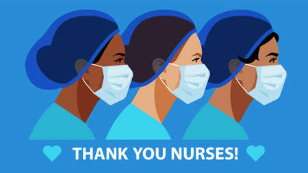 THANK YOU Nurses in medical mask and hat. International Nurses Day. Medical staff are fighting a viral infection. Vector illustration of a nurse in blue uniform on a blue. 일러스트