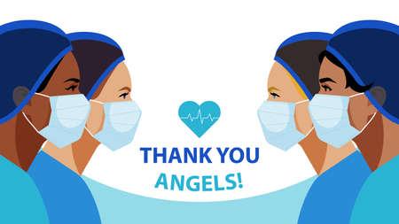 THANK YOU. International Nurses Day. Multi-ethnic women in the uniform of medical staff. Vector illustration of a nurse in blue uniform on a blue. Greeting card. 일러스트