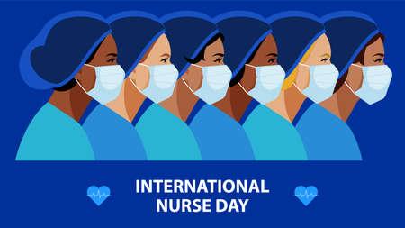International Nurses Day. Multi-ethnic women in the uniform of medical staff. Vector illustration of a nurse in blue uniform on a blue. Greeting card. 일러스트