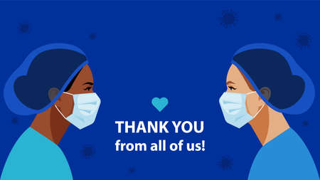 THANK YOU. International Nurses Day. Nurses in medical mask and hat. Virus symbol in the air. Medical staff are fighting a viral infection. Vector illustration of a nurse in blue uniform on a blue.