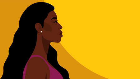 Beautiful black woman with long hair. Young african american. Portrait of young woman with beautiful face. Side view. Yellow background.